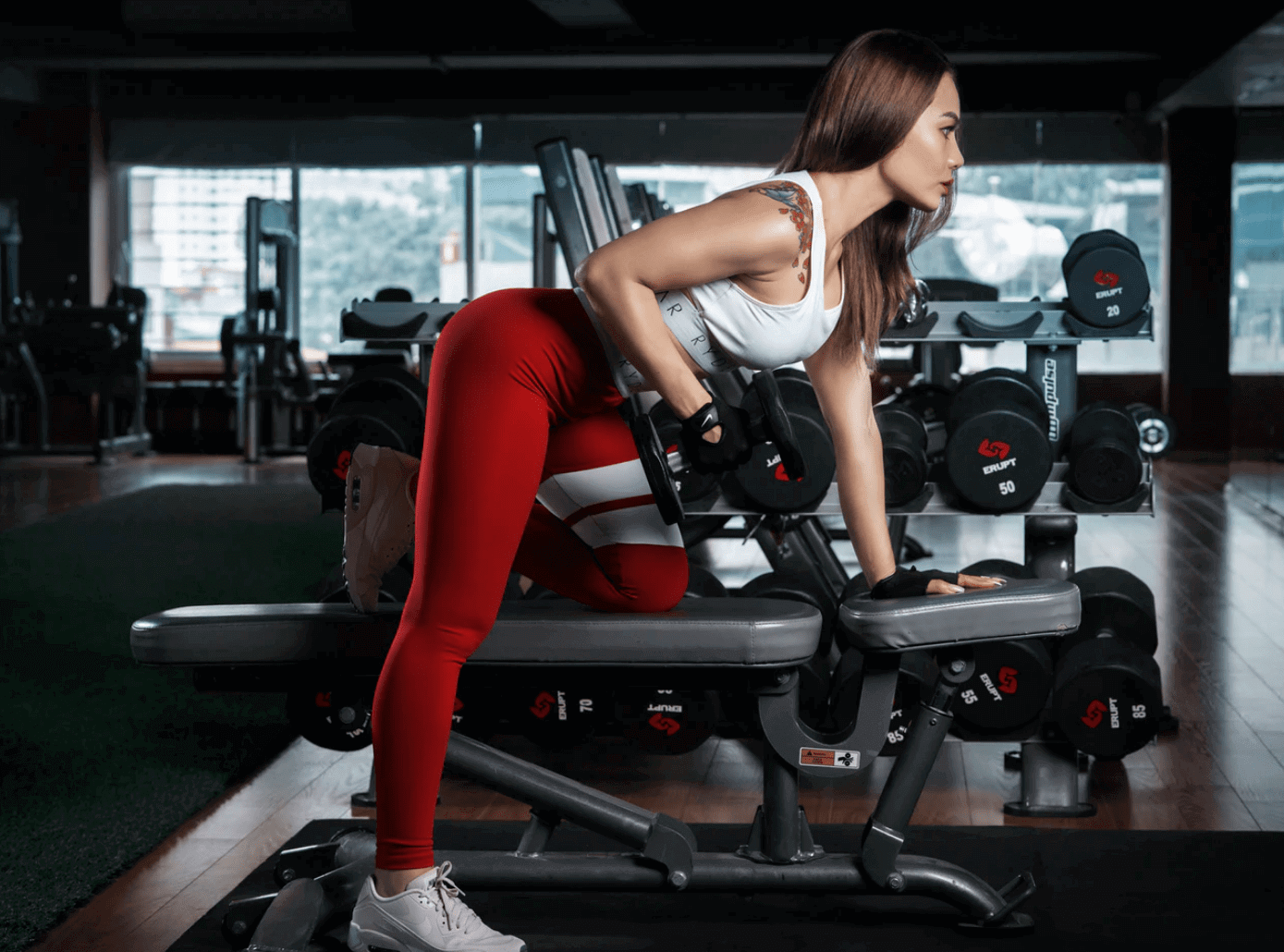 Girl Doing Gym on Bench