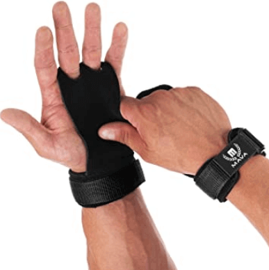 11) Mava Sports Leather Grips with Wide Wrist Support