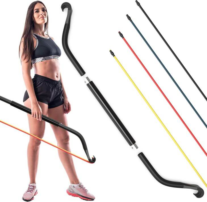 7) Gorilla Bow Portable Home Gym Resistance Bands And Bar System For Travel